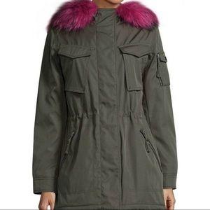 S13 Army Green Parka Electric Blue Faux Fur Hood L